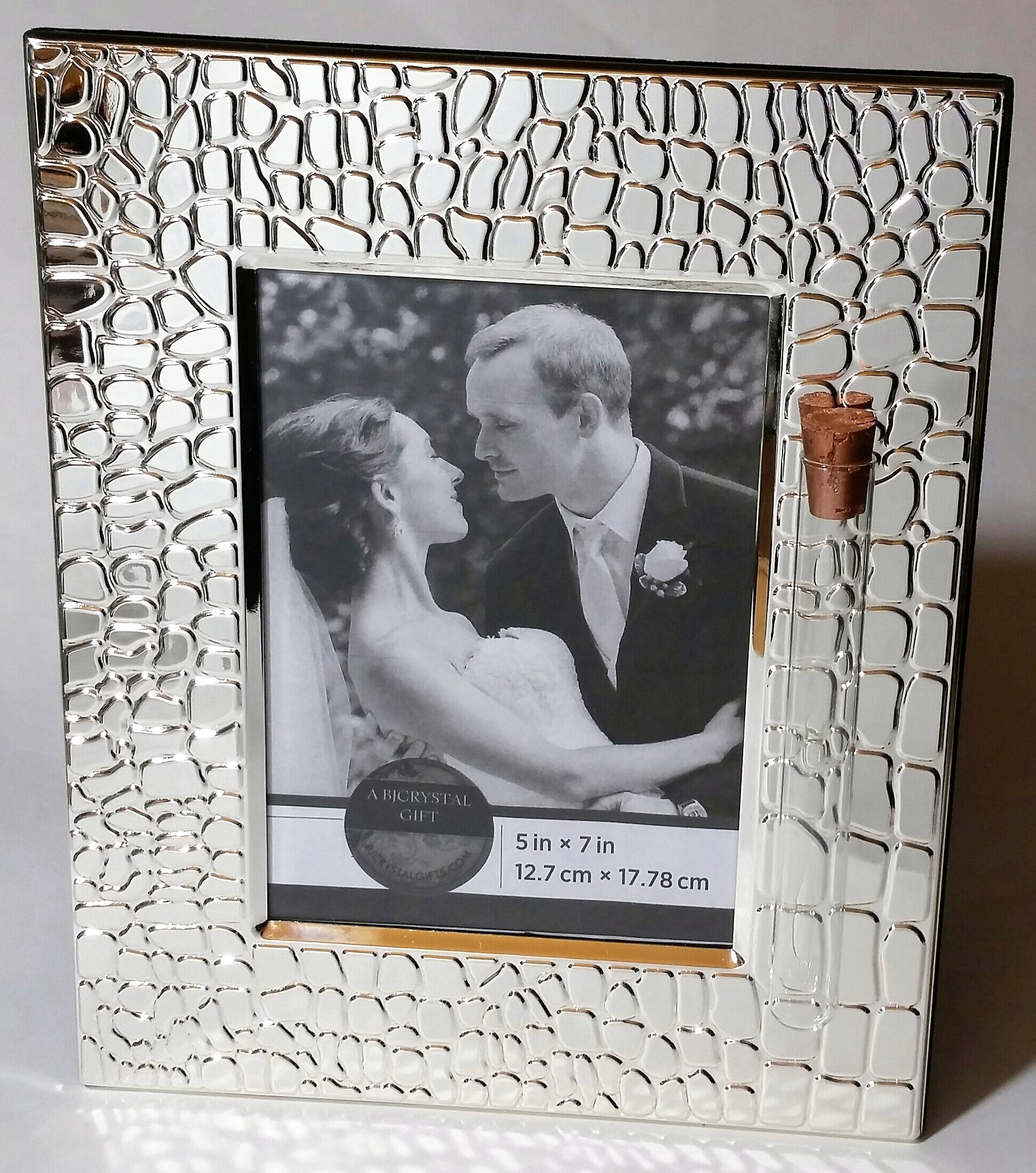 Jewish Wedding Picture Frame - Jewish Engagement Gift - 5x7 picture - Holds Shards From Chuppah