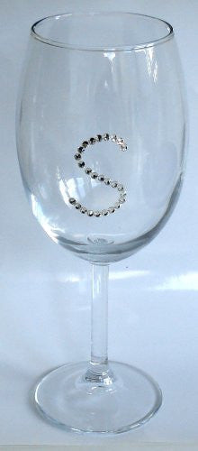 Wine Glass with Crystal Initial - Personalized Wine Glass
