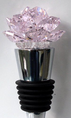 Pink Crystal Rose Wine Stopper Handcraftded with Swarovski Crystal - Wedding Favor