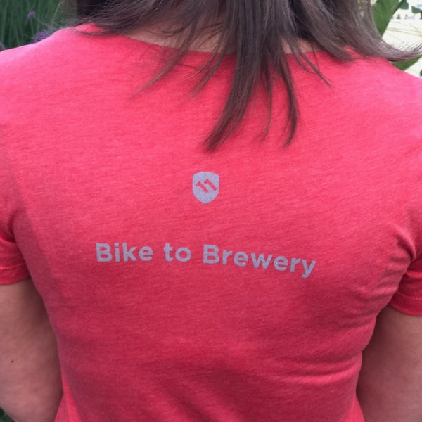 women's bike to brewery t-shirt back