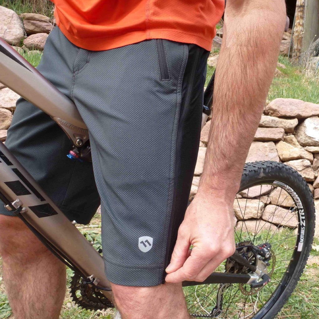 elevenpine men's crank it up mountain bike shorts zipping down