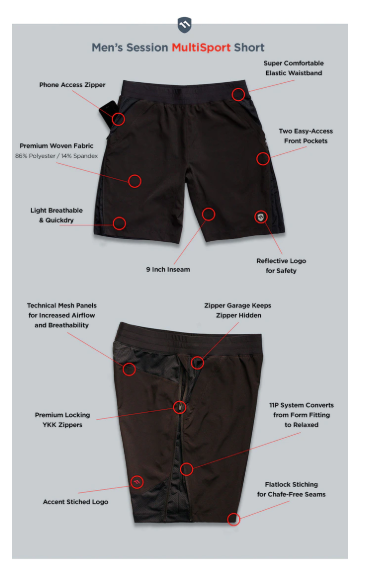 ElevenPine Men's Session Shorts Features