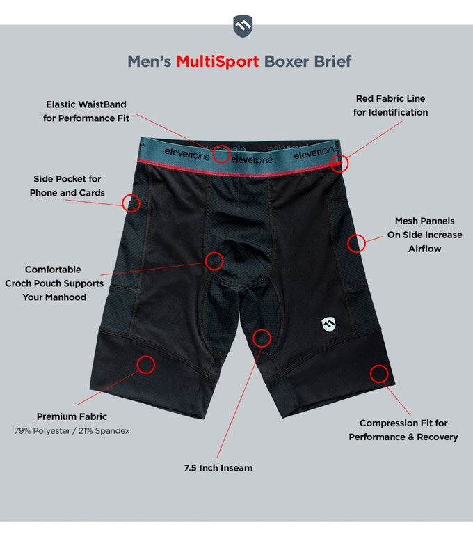 ElevenPine Men's Multisport Boxer Brief Features