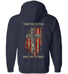 Stand for the flag. Kneel for the cross Gildan Zip Hoodie