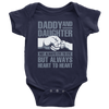 Daddy and Daughter not always eye to eye but always heart to heart., Baby Onesie