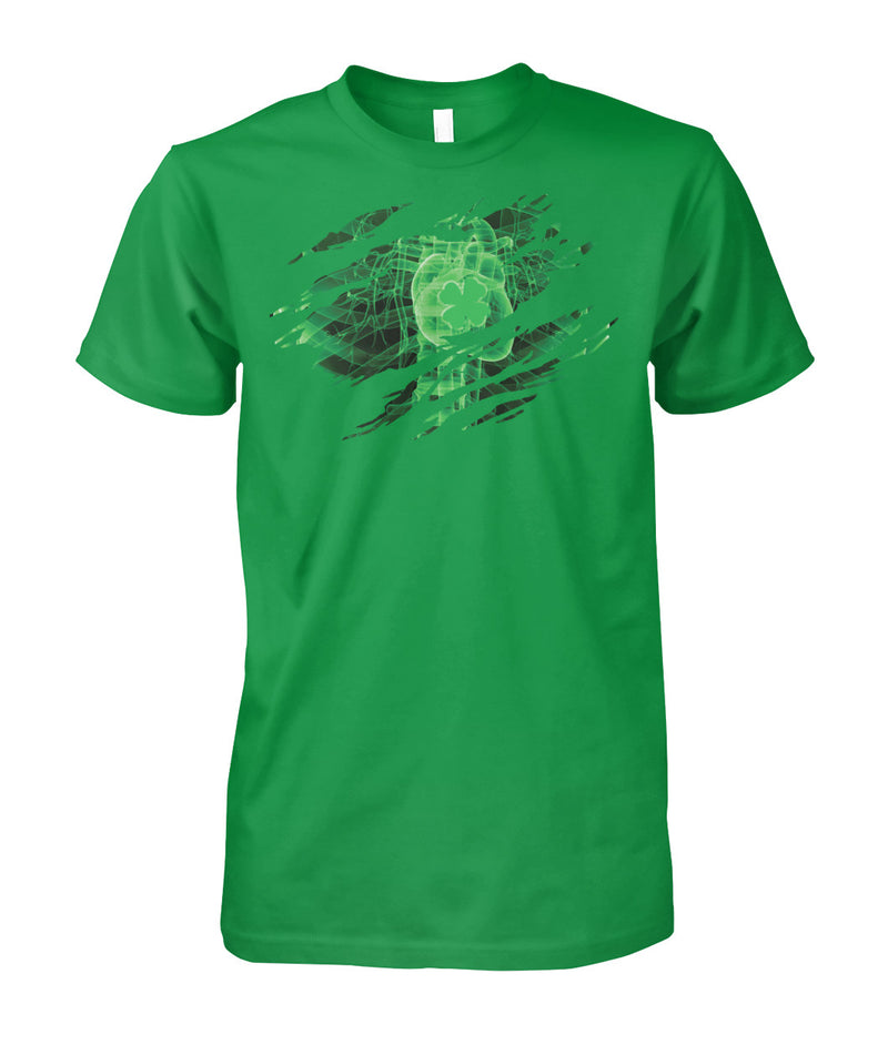 Irish Heart - American Blood- Patrick's  Unisex Cotton Tee