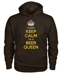 I can't keep calm I'm a Beer Queen Gildan Hoodie