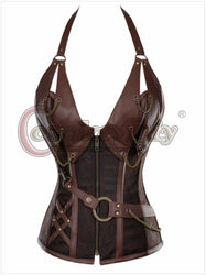Europe Medieval Palace Punk Leather Steel Reinforced Belt Corset Southern Belle Body Suit Croset
