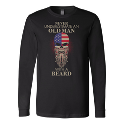 Never underestimates an old man with a beard., Canvas Long Sleeve Shirt