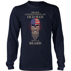Never underestimates an old man with a beard., District Long Sleeve Shirt