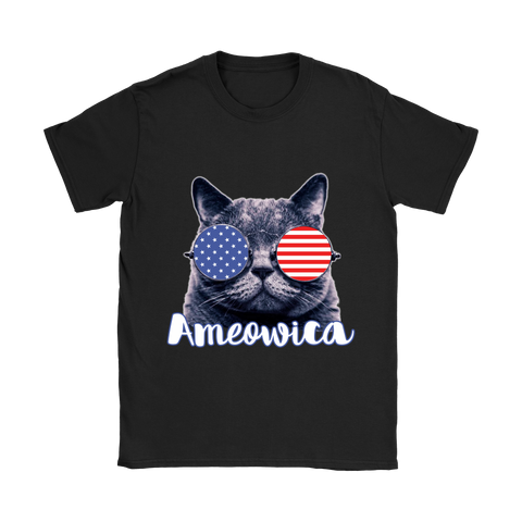 Ameowica the Great - Funny patriotic.,  Gildan Womens T-Shirt