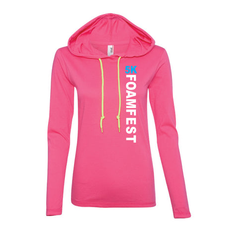 Womens Light Weight Foam Fest T-Shirt Hoody (Pink)