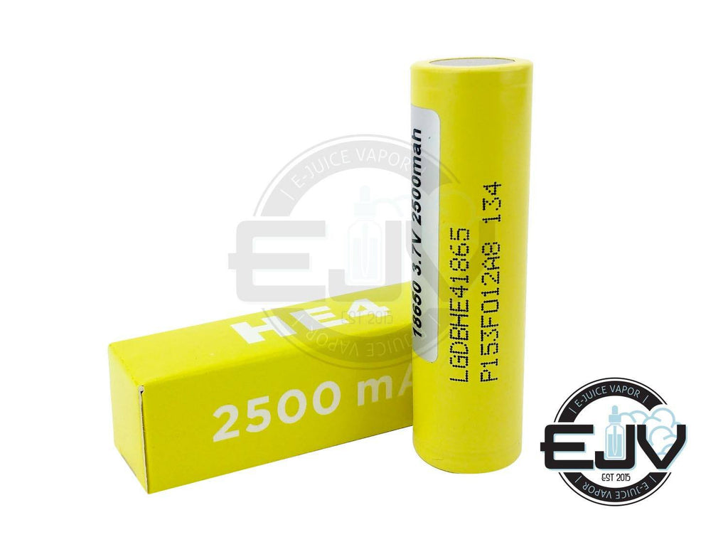 LG HE4 18650 2500 mAh 20A Battery Discontinued Discontinued Yellow 2500 mAh