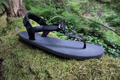 Shamma Chargers sandals on mossy stump