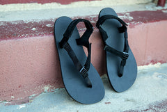 Shamma Chargers sandals on stairs
