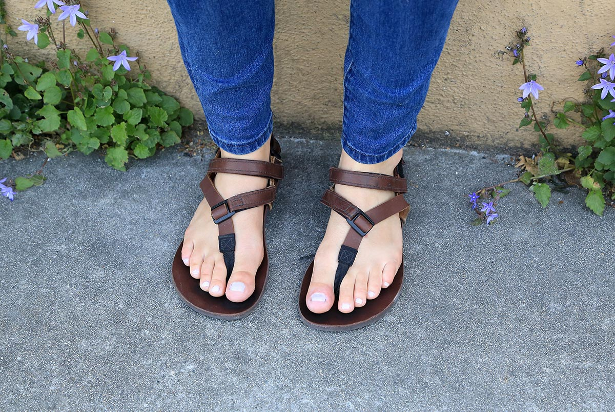 Super Power Straps on feet in sandals close