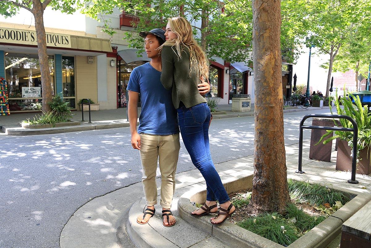 Couple in Shamma sandals downtown