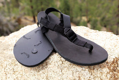 Shamma All Blacks Sandals Pair on Rocks