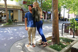 Shamma Chargers sandals couple enjoying downtown