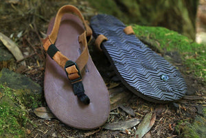 Shamma Old Goats leather sandals on mossy rocks