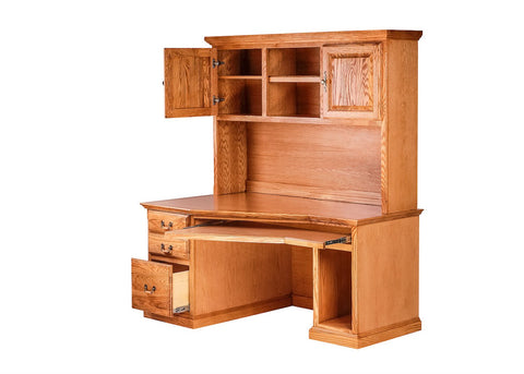 Forest Designs Traditional Angled Computer Desk & Hutch: 60W X 71H X 35D