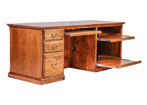 Forest Designs Traditional Oak Computer Desk: 78W x 30H x 28D