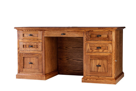Forest Designs Mission Oak Executive Double Pedestal Desk: 60W x 30H x 28D
