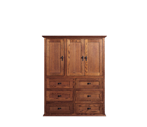 Forest Designs Mission Ten Drawer Armoire: 46W x 60H x 18D