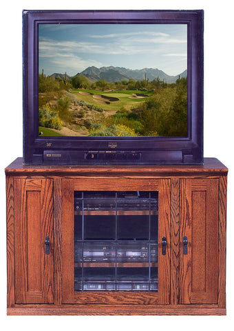Forest Designs Mission Oak TV Stand with Media Storage: 43W x 30H x 21D