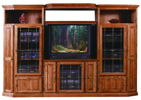 Forest Designs Traditional Oak Three Piece Wall & TV Stand & Adjustable Shelf