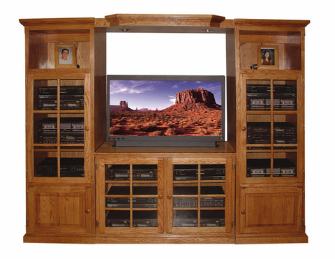 Forest Designs Traditional Golden Oak Three Piece Wall & TV Stand & Adjustable Shelf