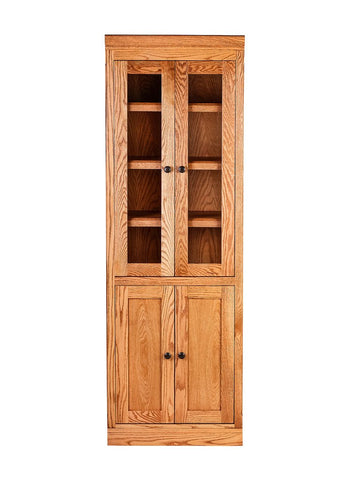 Forest Designs Mission Bookcase w/ Full Glass Doors: 24W X 18D Choose Your Height