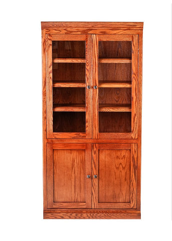 Forest Designs Mission Bookcase w/ Full Glass Doors: 36W X 18D Choose Your Height (Black Knobs)