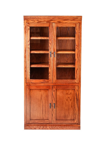 Forest Designs Mission Bookcase w/ Full Glass Doors: 36W X 18D Choose Your Height