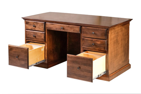 Forest Designs Traditional Alder Executive Double Pedestal Desk: 60W X 30H X 28D (Mission Knobs)