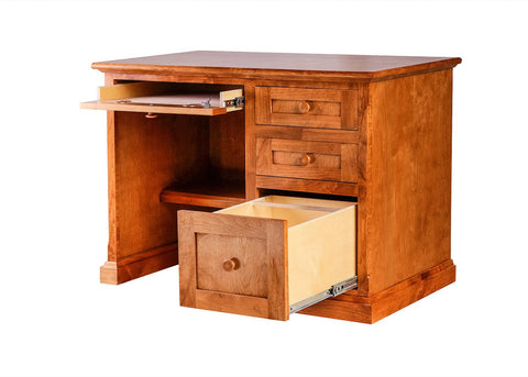 Forest Designs Mission Alder Writing Desk w/ Single Pedestal: 42W X 30H X 24D (Mission Knobs)
