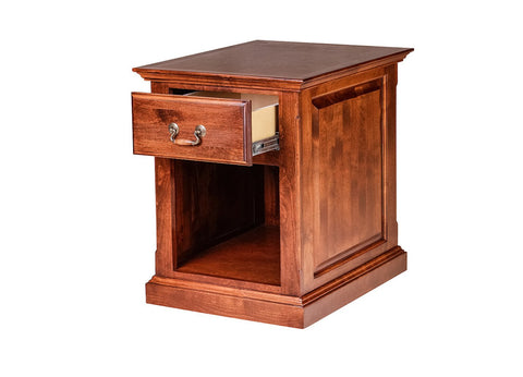 Forest Designs Traditional Antique Alder End Table w/ Raised Panel Sides: 20W X 25H X 24D
