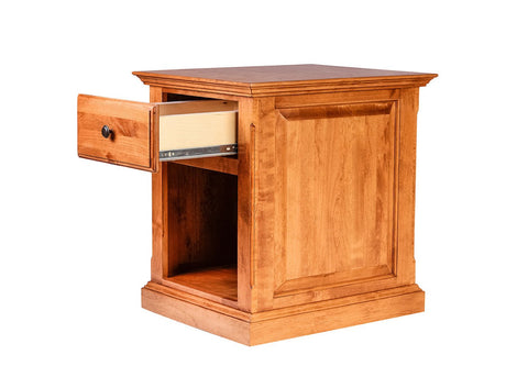 Forest Designs Traditional Alder End Table w/ Raised Panel Sides: 20W X 25H X 24D (Black Knobs)