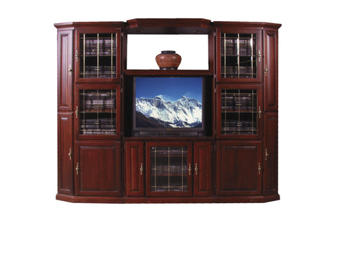 Forest Designs Traditional Three Piece Wall & TV Stand & Adjustable Shelf in Mahogany