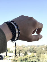 Load image into Gallery viewer, Thread Etiquette Stacks - Black & Silver Bracelet