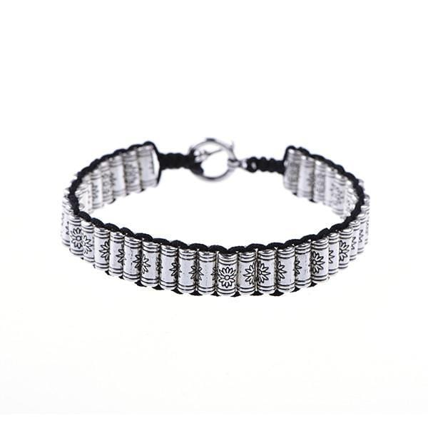 Thread Etiquette Stacks - Black & Silver Bracelet