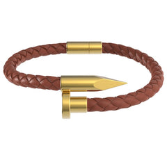 Mister Nail Leather Bracelet - Caramel - Mister SFC - Fashion Jewelry - Fashion Accessories