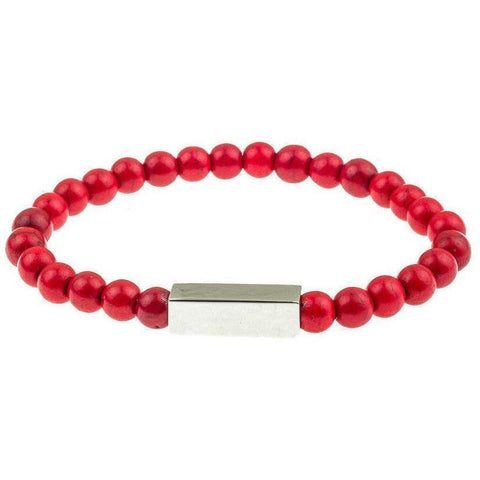 Mister Prime Bead Bracelet - Red & Chrome - Mister SFC - Fashion Jewelry - Fashion Accessories