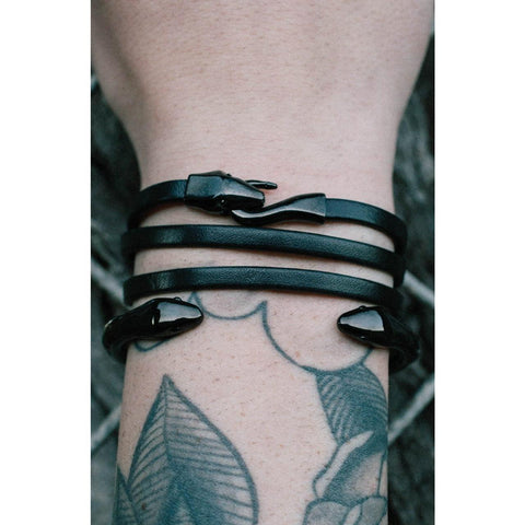 *Mister Serpent Wrap Leather Bracelet - Black - Mister SFC - Fashion Jewelry - Fashion Accessories