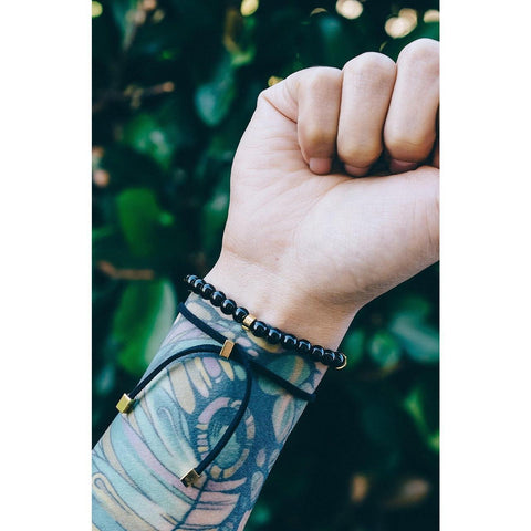Mister Suede Leather Bracelet - Black & Gold - Mister SFC - Fashion Jewelry - Fashion Accessories