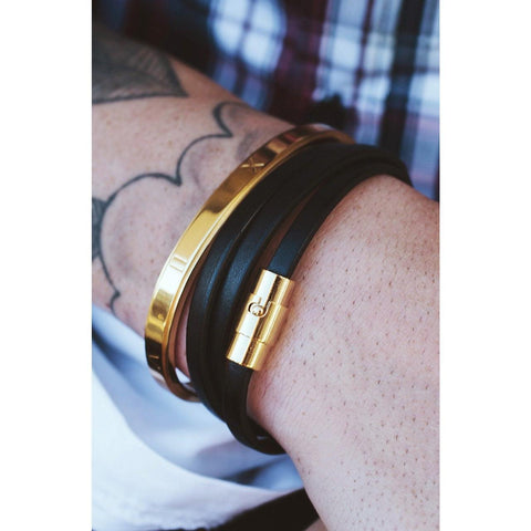 *Mister Trifecta Leather Bracelet - Black & Gold - Mister SFC - Fashion Jewelry - Fashion Accessories