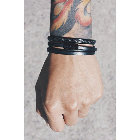 *Mister Trifecta Leather Bracelet - Black - Mister SFC - Fashion Jewelry - Fashion Accessories