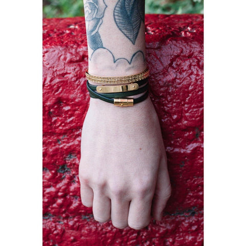 *Mister Trilogy Leather Bracelet  - Black & Gold - Mister SFC - Fashion Jewelry - Fashion Accessories