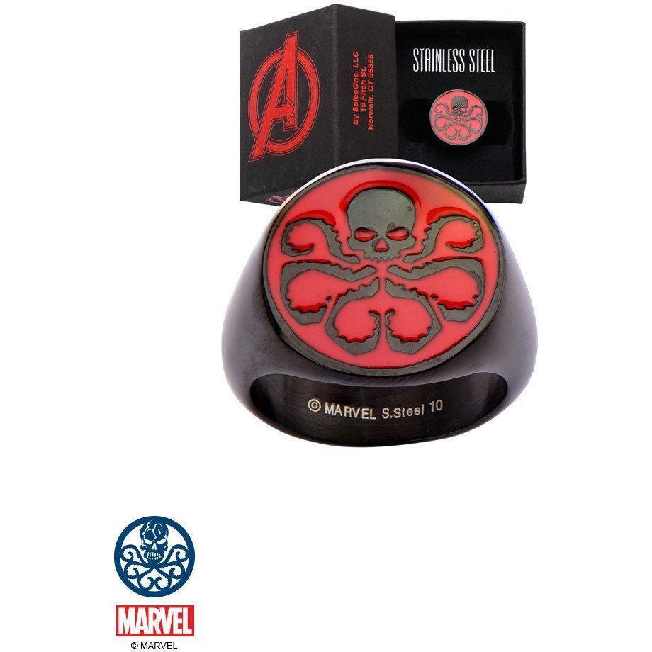 Marvel Black With Red Hydra Stainless Steel Ring