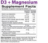 D3 + Magnesium Back Label